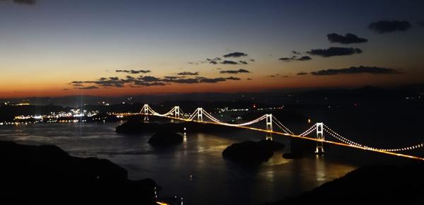 来島海峡大橋ライトアップきろうさん