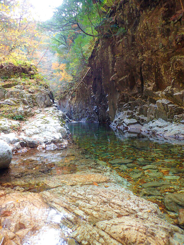 御来光の滝ルート七釜の先